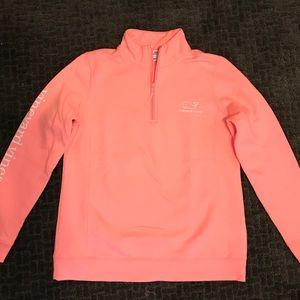 Bright pink quarter zip sweater sweatshirt